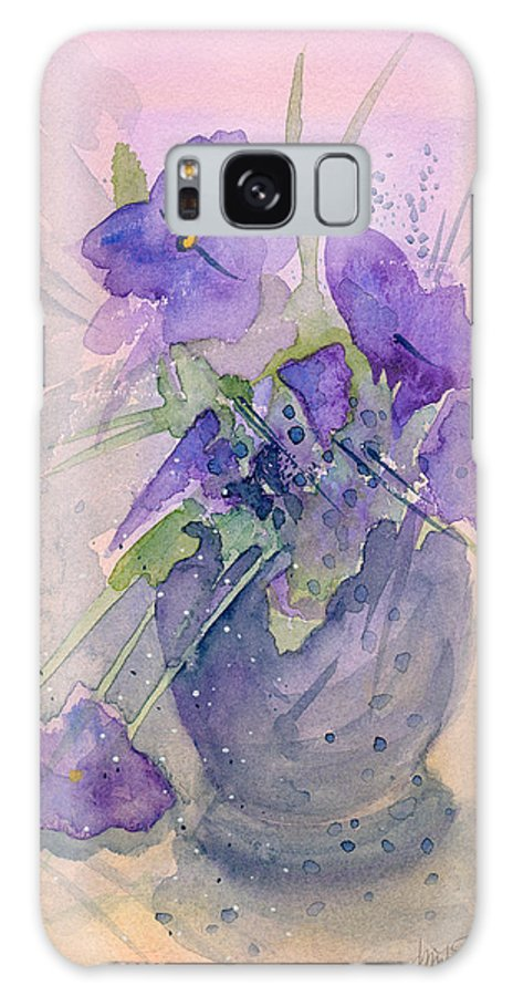 Purple Galaxy Case featuring the painting Violets by Christina Rahm Galanis