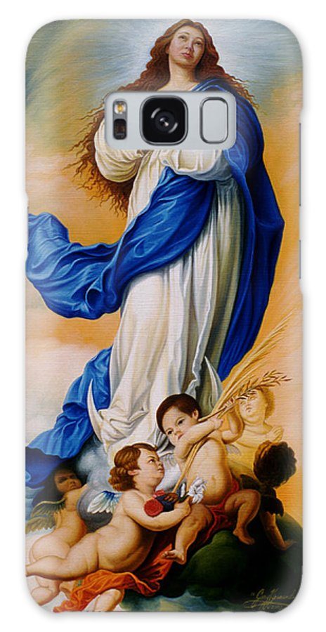 Immaculate Conception Galaxy Case featuring the painting Virgin Of The Immaculate Conception After Murillo by Gary Hernandez