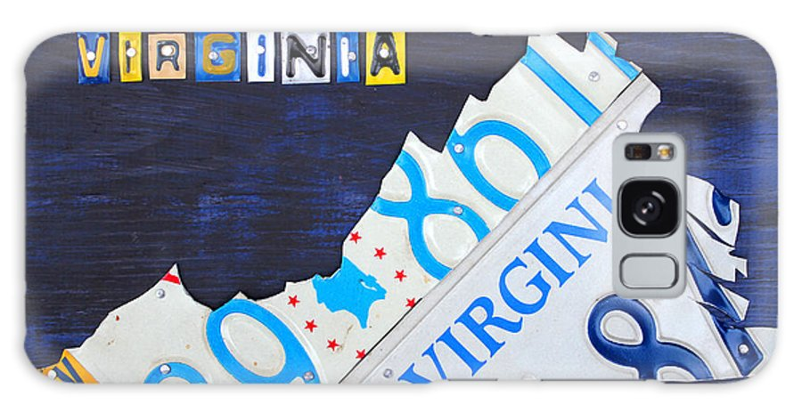 License Plate Map Galaxy S8 Case featuring the mixed media Virginia License Plate Map Art by Design Turnpike