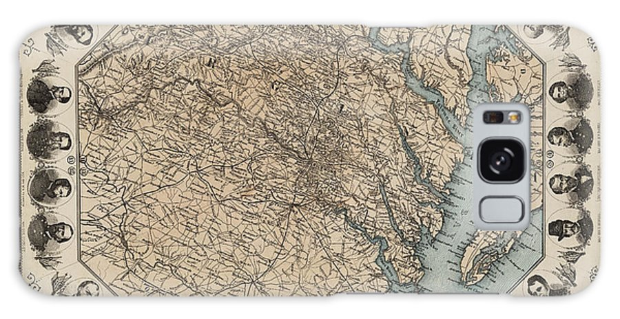 Virginia Map With Civil War Heroes Galaxy S8 Case featuring the digital art Virginia Map With Civil War Heroes by Bill Cannon