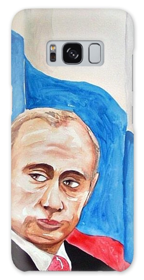 Vladimir Putin Politics Portrait Man Russia Flag Politician Galaxy S8 Case featuring the painting Vladimir Putin 2010 by Ken Higgins