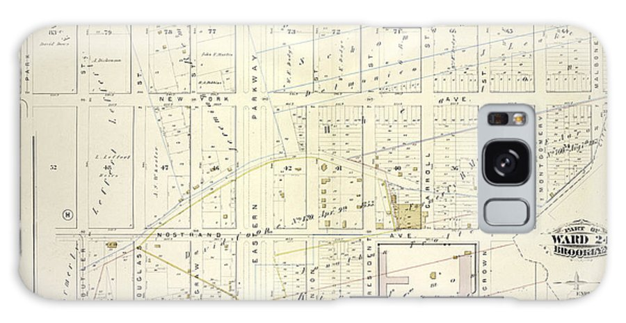 Vol 1 Plate Galaxy S8 Case featuring the drawing Vol. 1. Plate, N. Map Bound By Brooklyn Ave., City Line by Litz Collection