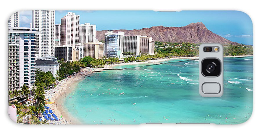 Water's Edge Galaxy Case featuring the photograph Waikiki Beach by M Swiet Productions
