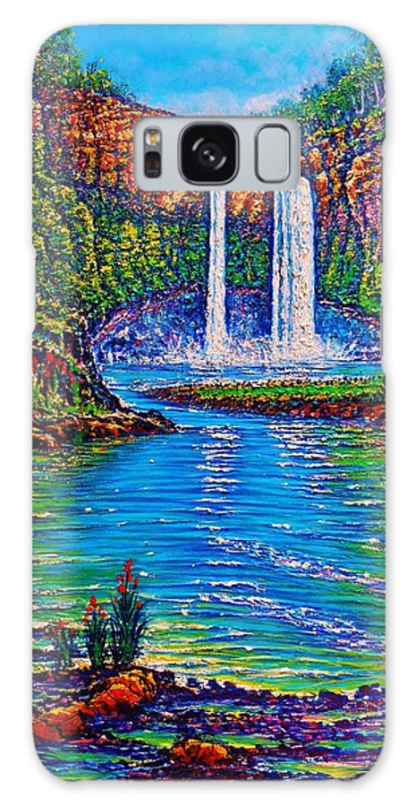Landscape Waterfall Stream River Pond Forest Tropical Ledge Falls Reflections Ripples Galaxy S8 Case featuring the painting Wailua Falls II by Joseph  Ruff