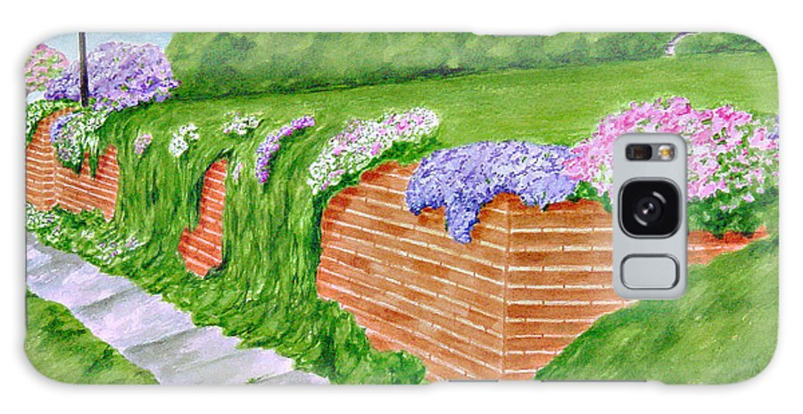 Landscape Galaxy Case featuring the painting Wall Of Flowers by Regan J Smith