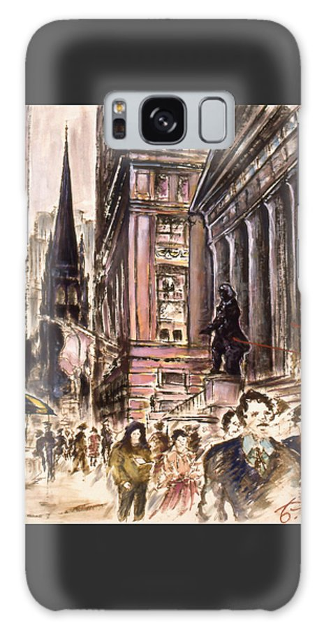 New+york Galaxy S8 Case featuring the painting New York Wall Street - Fine Art by Peter Potter