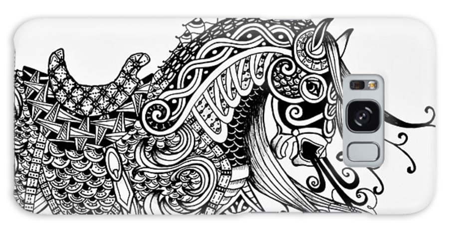 Horse Galaxy S8 Case featuring the drawing War Horse - Zentangle by Jani Freimann