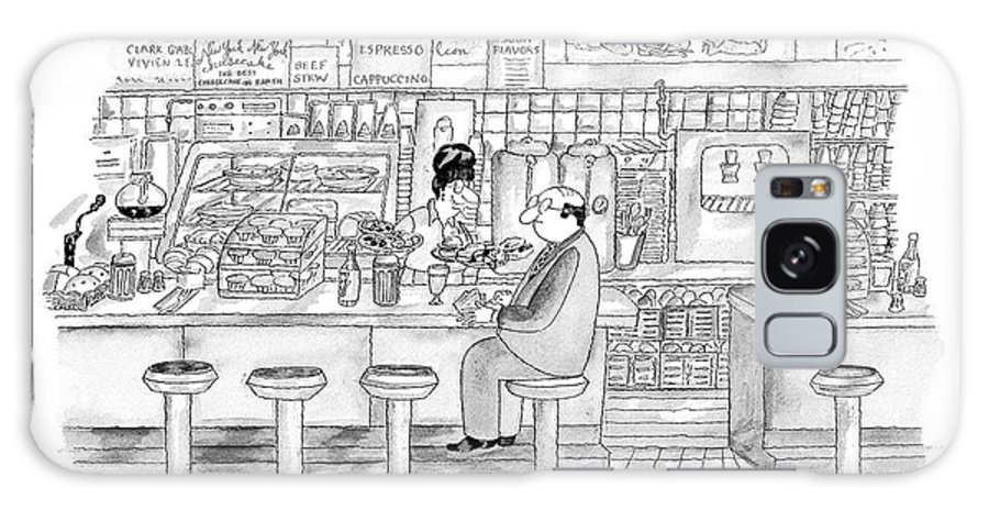 Food Issue Service Restaurants Problems Dining  (waitress At Coffee Shop With Two Plates Of Small Samples Of Food Galaxy S8 Case featuring the drawing Was It You, Honey, Ordered The Tasting Menu? by Victoria Roberts