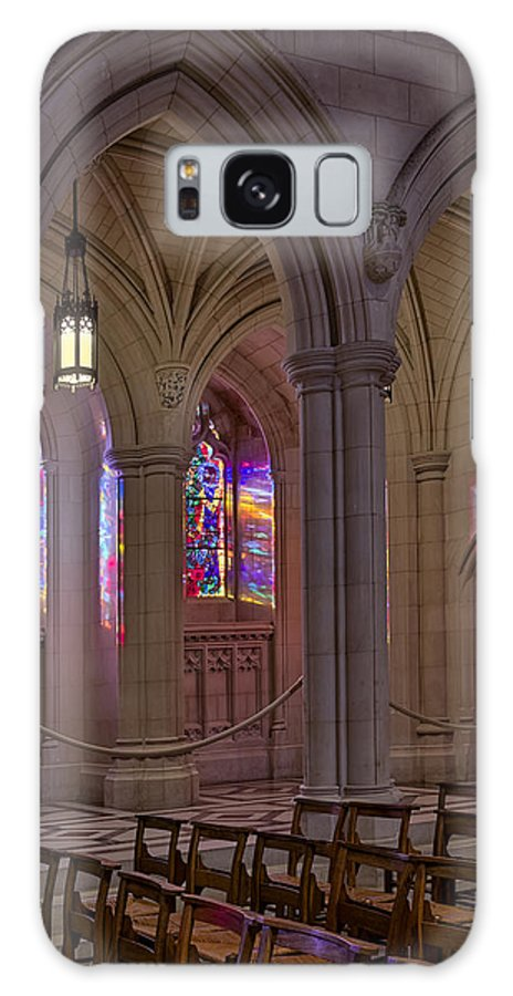 Washington Cathedral Galaxy S8 Case featuring the photograph Washington National Cathedral Stained Glass Colors by Susan Candelario