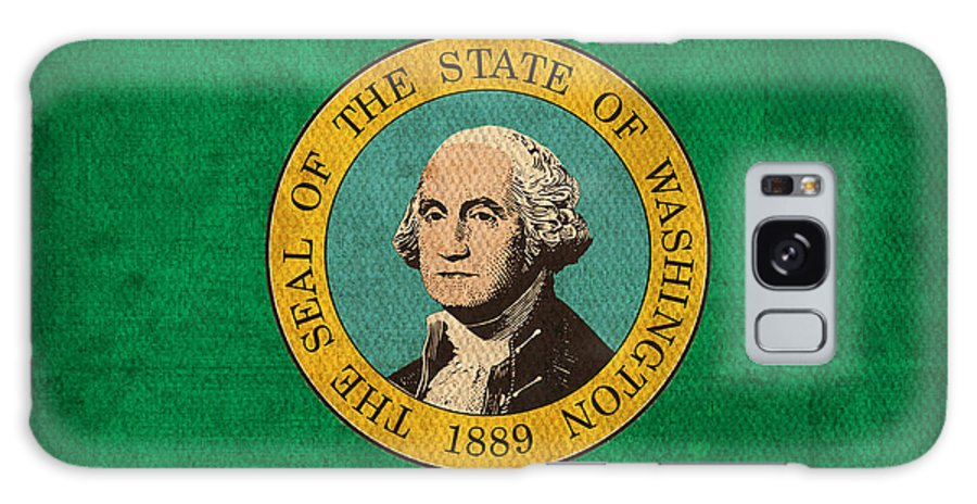 Washington State Flag Art On Worn Canvas Galaxy S8 Case featuring the mixed media Washington State Flag Art On Worn Canvas by Design Turnpike