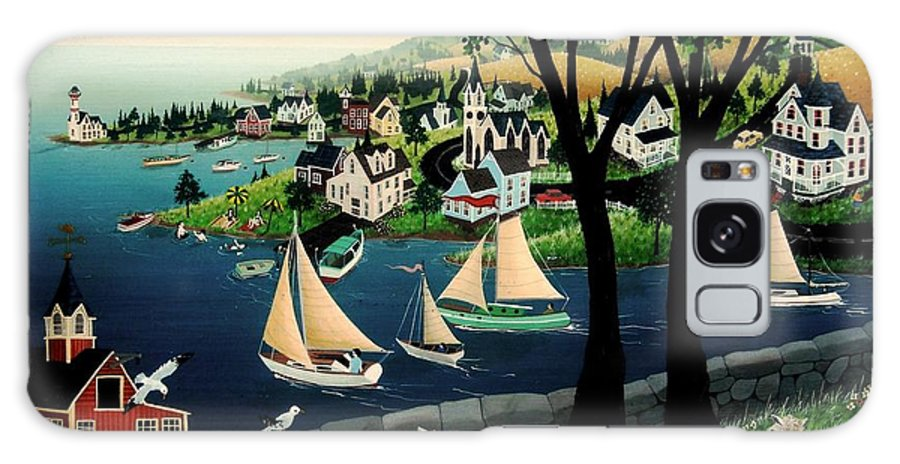 Sailboats Galaxy S8 Case featuring the painting Watching The Race by Robert Logrippo