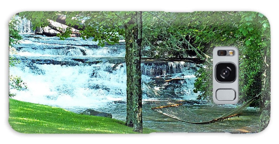Duane Mccullough Galaxy S8 Case featuring the photograph Waterfall And Hammock In Summer 2 by Duane McCullough