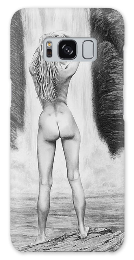 Waterfall Galaxy S8 Case featuring the drawing Waterfall Pin Up Girl by Murphy Elliott