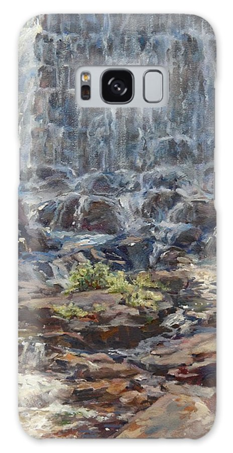 Waterfall Galaxy S8 Case featuring the painting Waterfall by Sharon Jordan Bahosh