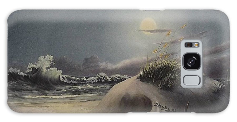 Landscape Galaxy Case featuring the painting Waves And Moonlight by Wanda Dansereau