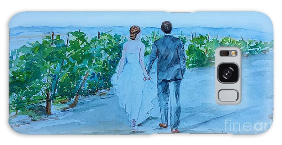 Winery Galaxy S8 Case featuring the painting Wedding In Sonoma Winery by Jill Morris
