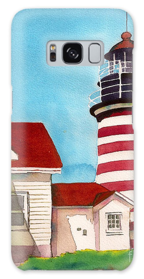 West Quoddy Light House Galaxy Case featuring the painting West Quoddy Light House by Nan Wright