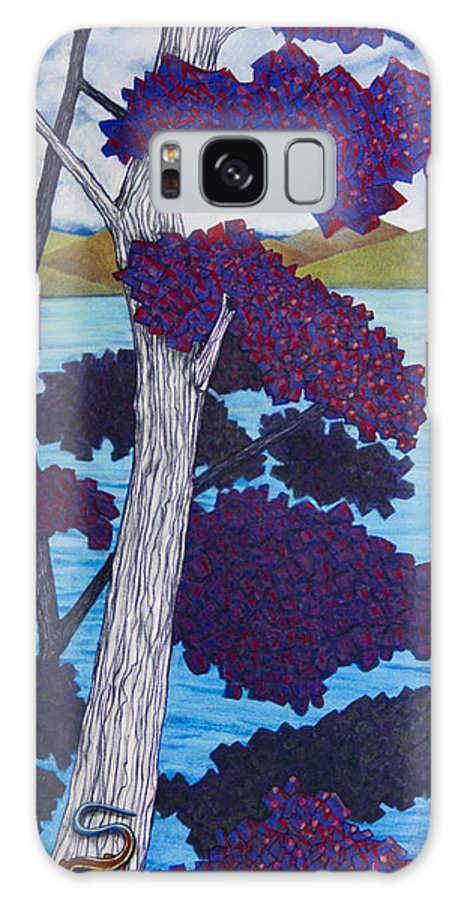 Skink Galaxy S8 Case featuring the pastel Western Skink On Tree Next To Lake by Michele Fritz