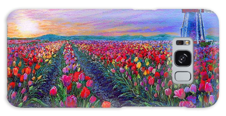 Sun Galaxy S8 Case featuring the painting Tulip Fields, What Dreams May Come by Jane Small