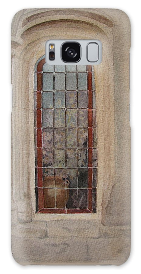 Window Galaxy Case featuring the painting What Is Behind The Window Pane by Mary Ellen Mueller Legault