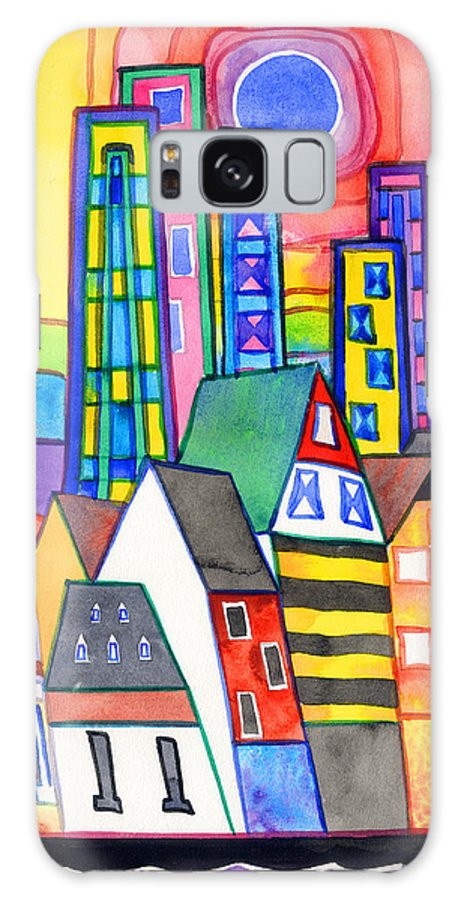 Cityscape Galaxy S8 Case featuring the painting When Old Meets New by Kate Shannon