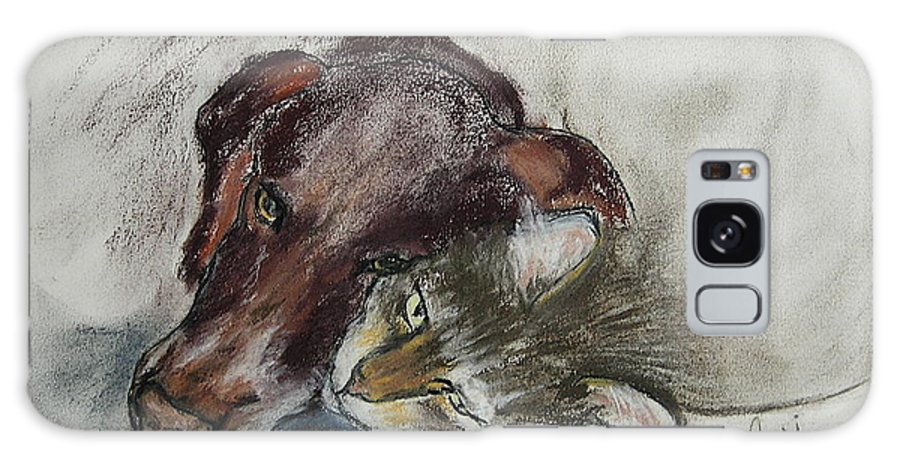 Dog Galaxy Case featuring the drawing Whisker To Whisker by Cori Solomon