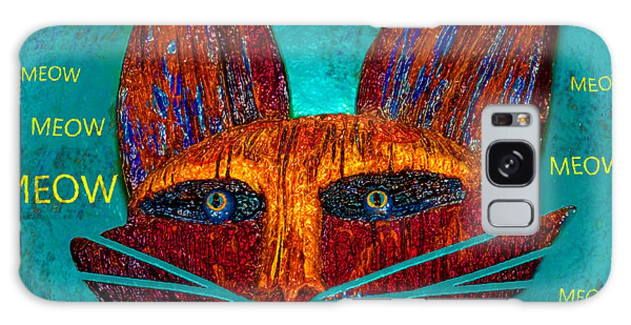 Cat Galaxy S8 Case featuring the painting Whiskers Meowing by David Lee Thompson