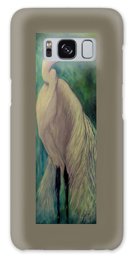 Egret Galaxy S8 Case featuring the painting Whisper Of White, Bird by Sandra Reeves