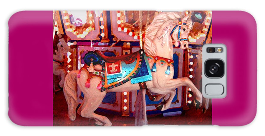Horses Galaxy S8 Case featuring the painting White Carousel Horse by Amy Vangsgard
