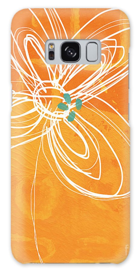 Flower Galaxy Case featuring the painting White Flower on Orange by Linda Woods