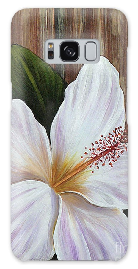 Hawaii Galaxy S8 Case featuring the painting White Hibiscus by Gayle Utter