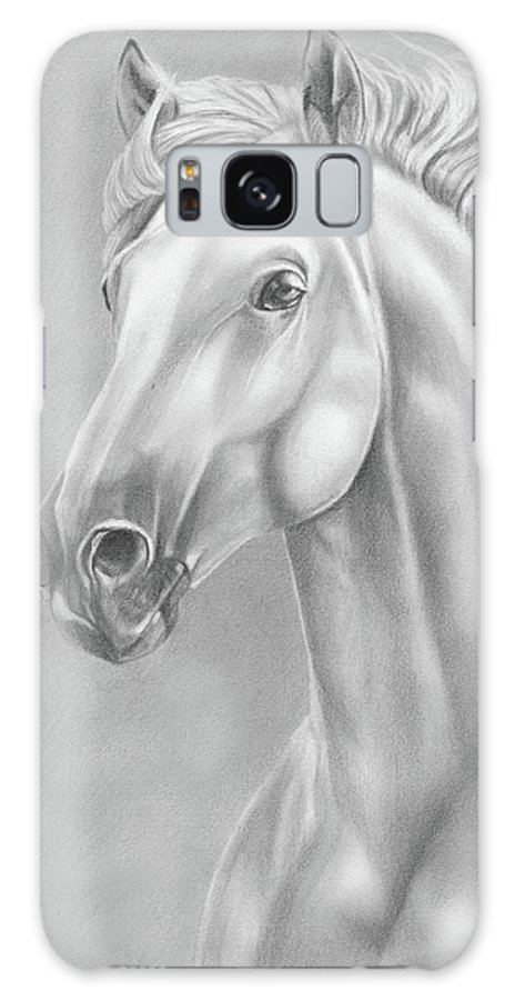 Pencil Galaxy S8 Case featuring the drawing White Horse by Lena Auxier