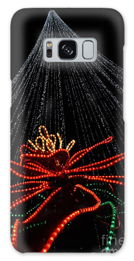 White Lights Galaxy S8 Case featuring the photograph White Light Tree Poinsettia by Connie Mueller