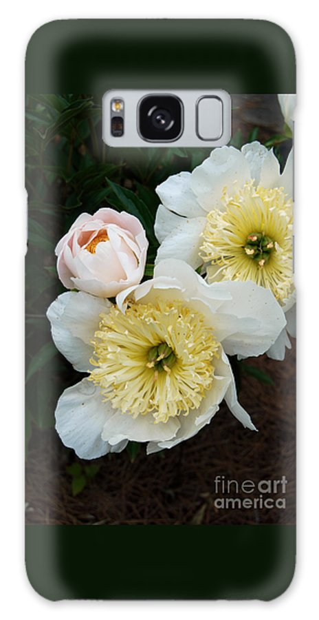 White Peony Flower Galaxy S8 Case featuring the digital art White Peony Flowers Series 2 by Eva Kaufman