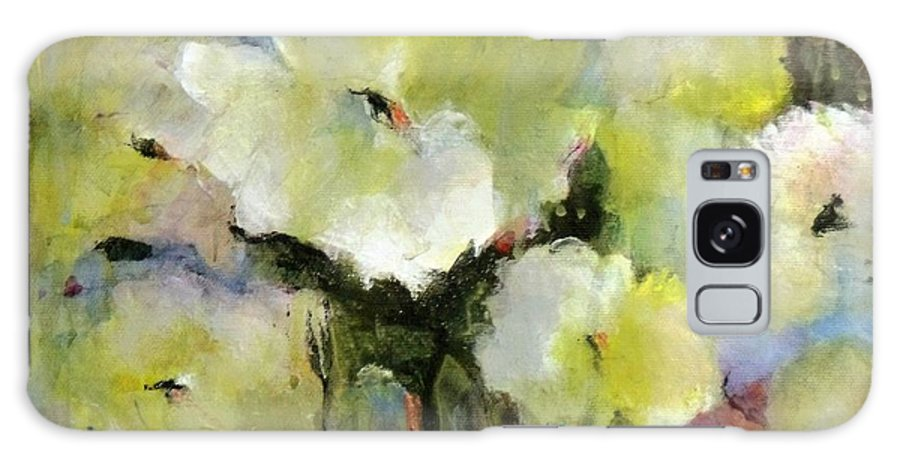 Impressionist; Contemporary; Floral; Flowers; Poppies; Bright; Blue; Green; Exciting; Dripping Paint; White Poppies; Flowers On Canvas Galaxy S8 Case featuring the painting White Poppy Bouquet by Madeleine Holzberg