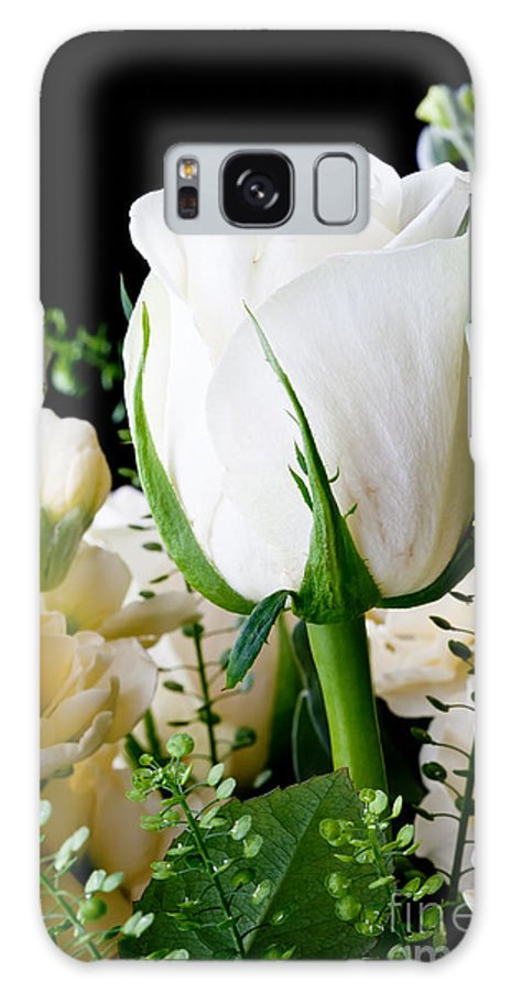 Flower Galaxy S8 Case featuring the photograph White Roses Close Up by Simon Bratt Photography LRPS