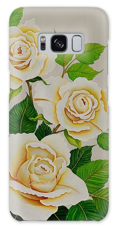 White Roses With Yellow Shading On A White Background. Galaxy S8 Case featuring the painting White Roses - Vertical by Carol Sabo