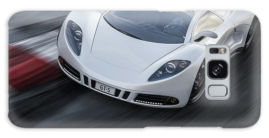 Aerodynamic Galaxy Case featuring the photograph White Sports Car On A Racetrack by Mevans