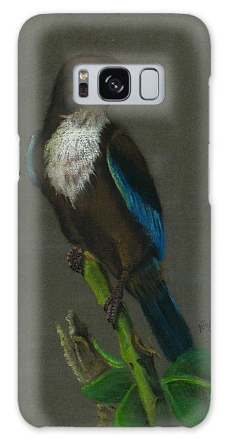 Kingfisher Galaxy S8 Case featuring the painting White-throated Kingfisher by Nirosh Perera