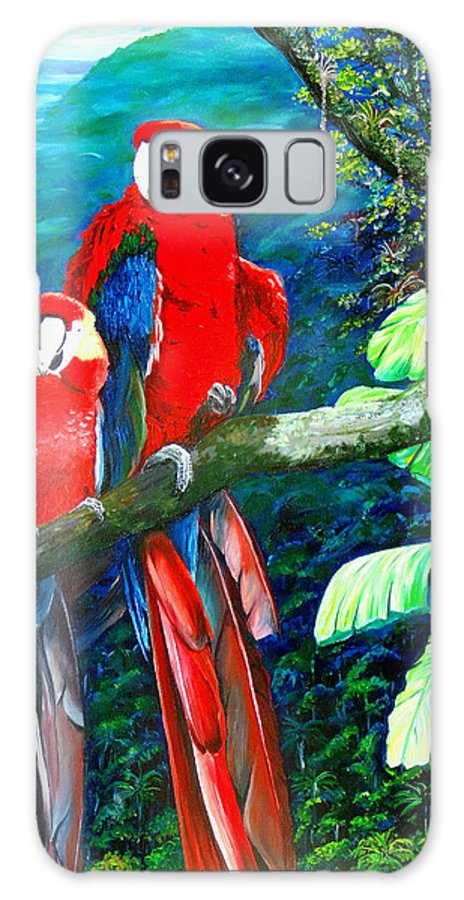 Caribbean Painting Green Wing Macaws Red Mountains Birds Trinidad And Tobago Birds Parrots Macaw Paintings Greeting Card  Galaxy S8 Case featuring the painting Who Me  by Karin Dawn Kelshall- Best