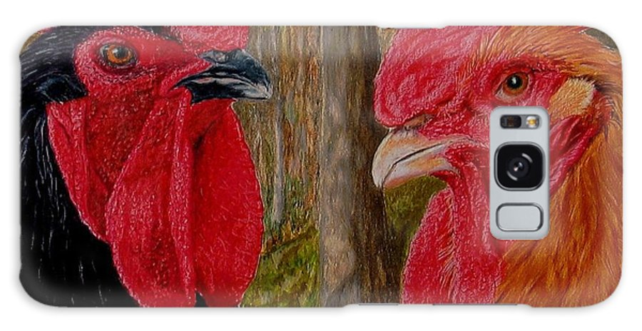 Roosters Galaxy S8 Case featuring the painting Who You Calling Chicken by Karen Ilari
