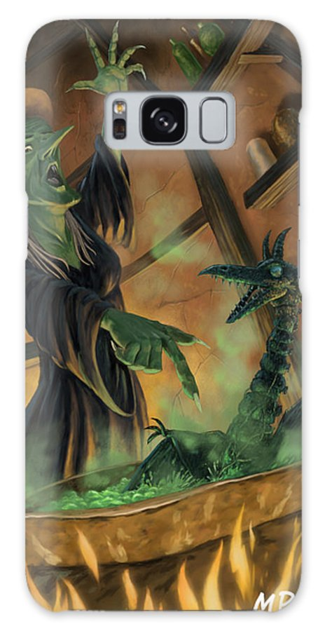 Witch Galaxy S8 Case featuring the painting Wicked Witch Casting Spell by Martin Davey