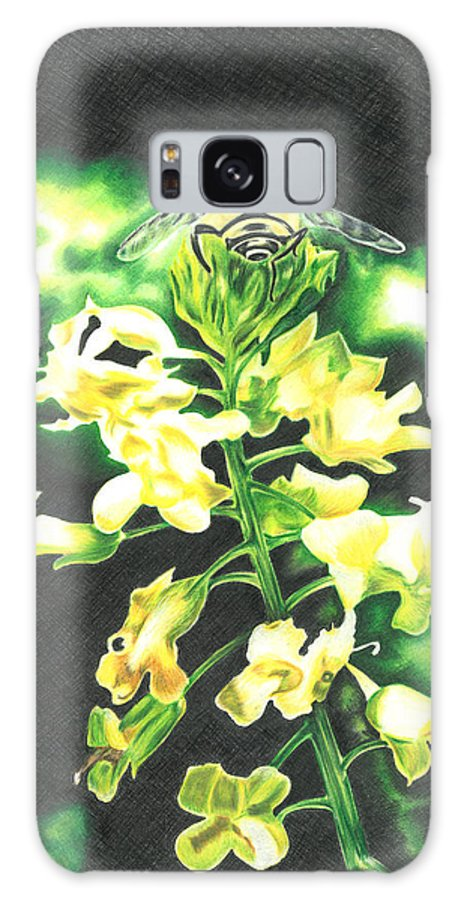 Bee Galaxy S8 Case featuring the drawing Wild Flower by Troy Levesque