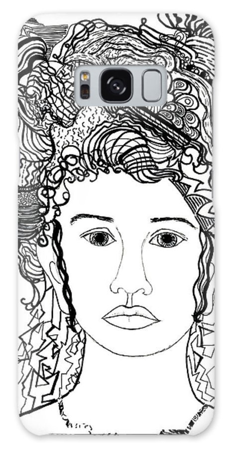 Drawing Galaxy S8 Case featuring the drawing Wild Hair Portrait In Shapes And Lines by Lenora De Lude