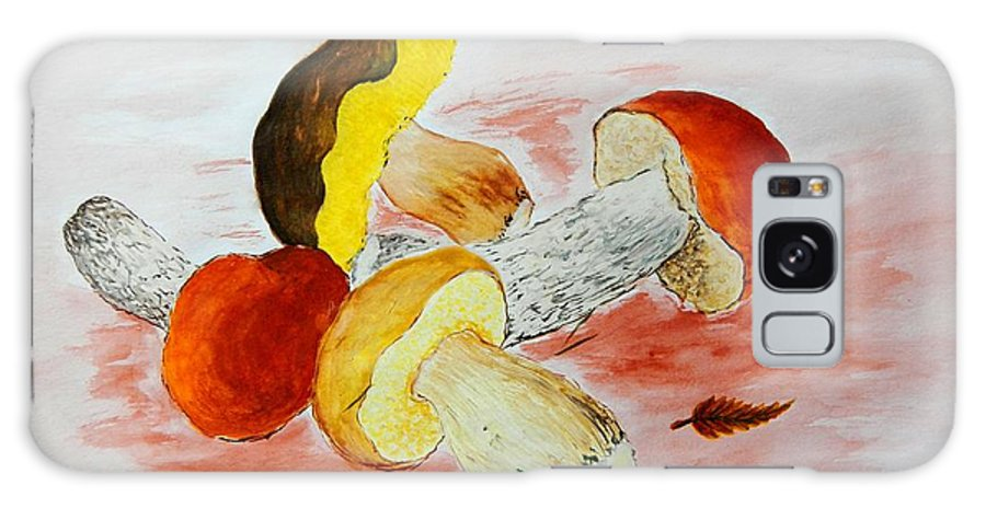 Nature Galaxy S8 Case featuring the painting Wild Mushrooms by Loreta Mickiene