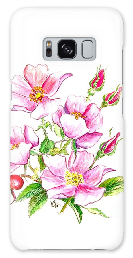 Wild Rose Greeting Card Galaxy S8 Case featuring the painting wild Rose by Virginia Ann Hemingson