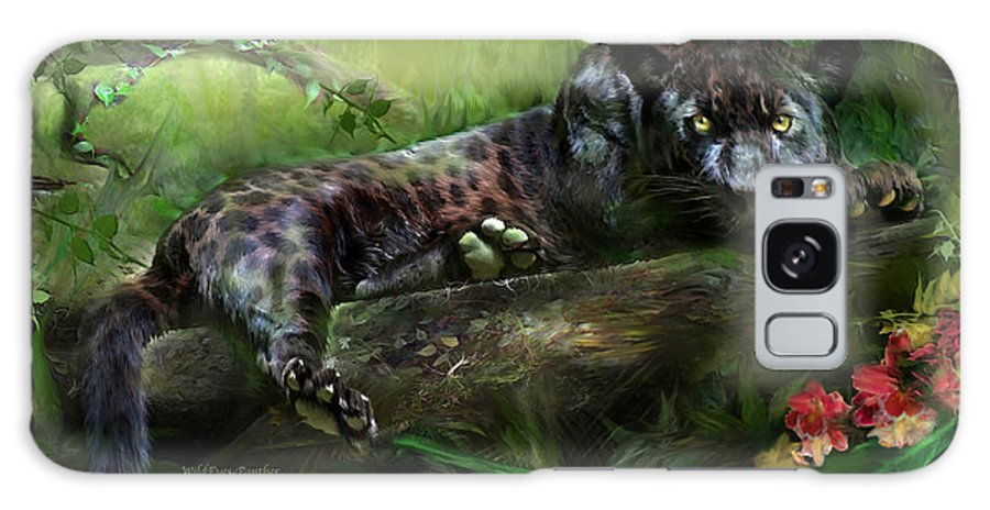 Panther Galaxy S8 Case featuring the mixed media WildEyes - Panther by Carol Cavalaris