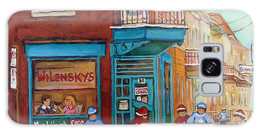 Wilensky's Montreal Galaxy S8 Case featuring the painting Wilensky Montreal-fairmount And Clark-montreal City Scene Painting by Carole Spandau