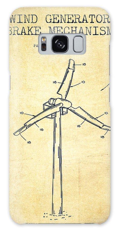 Wind Turbine Galaxy Case featuring the digital art Wind Generator Break Mechanism Patent From 1990 - Vintage by Aged Pixel