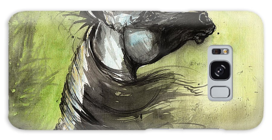 Arabian Horse Galaxy S8 Case featuring the painting Wind In The Mane 3 by Angel Ciesniarska